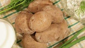 Traditionele Spaanse en Canarische aardappels met knoflooksaus en melk stock video
