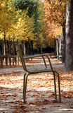 Traditionele stoel in de tuin van Luxemburg, Parijs Royalty-vrije Stock Fotografie
