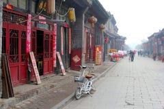 Traditionele straat in de Oude Stad van Pingyao (Unesco), China Royalty-vrije Stock Afbeelding