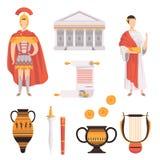 Traditionele symbolen van de oude vastgestelde vectorillustraties van Roman Empire op een witte achtergrond vector illustratie