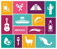 Traditionele symbolen van Mexico Vlakke vectorpictogrammen vector illustratie