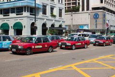 Traditionele taxi in Hong Kong stock fotografie