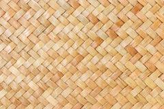 Traditionele Thaise de aardachtergrond van het stijlpatroon van bruine de textuur rieten oppervlakte van het ambachtsweefsel voor Stock Afbeeldingen