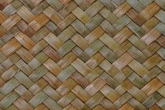 Traditionele Thaise de aardachtergrond van het stijlpatroon van bruine de textuur rieten oppervlakte van het ambachtsweefsel voor Stock Afbeelding