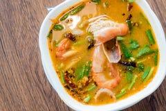 Traditionele Thaise de garnalen kruidige soep van de Voedselrivier, Tom Yum Goong, Tha royalty-vrije stock afbeelding