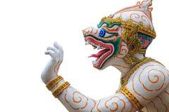 Traditionele Thaise stijl Hanuman of aapstandbeeld in openbare tempel Stock Foto