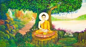 Traditionele Thaise stijl het schilderen kunst op tempelmuur Stock Afbeeldingen