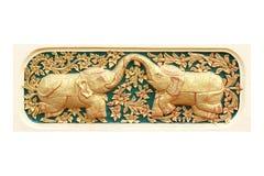 Traditionele Thaise stijlkunst van gipspleister 12 dierenriem Stock Afbeeldingen