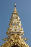 Traditionele Thaise stijlkunst van ingang in tempel, Thailand Stock Afbeelding