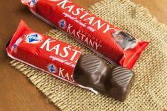 Traditionele Tsjechische die chocoladereep in een fabriek wordt geproduceerd in 1896 wordt opgericht Momenteel behoort Royalty-vrije Stock Fotografie