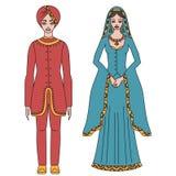 Traditionele Turkse kleding, nationaal de doek van het Midden-Oosten, man en vrouwen geïsoleerde sultankostuum, Turkse kleding stock illustratie