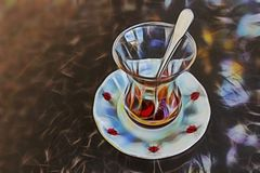 Traditionele Turkse thee voor koppen, platen en lepels royalty-vrije illustratie