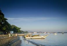Traditionele vissersboten op dilistrand in Oost-Timor leste Royalty-vrije Stock Fotografie