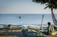 Traditionele vissersboten op dilistrand in Oost-Timor leste Royalty-vrije Stock Foto