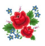 Traditionele volks bloemenpatroonillustratie Stock Foto's