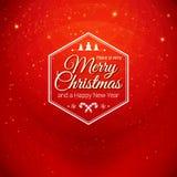 Traditionele Vrolijke Kerstmis en Gelukkige Nieuwjaarskaart Stock Foto