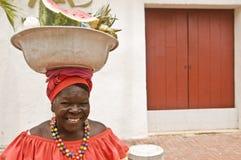 Traditionele Vrouw Palenquera Stock Afbeelding