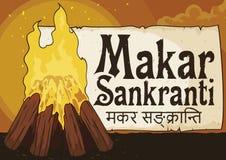Traditionele Vuur en Groetrol om het Festival van Makar Sankranti, Vectorillustratie te vieren royalty-vrije illustratie