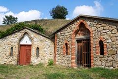 Traditionele wijnkelders, Vrbice, Breclav-district, Zuidelijk Moravië, Tsjechische Republiek stock afbeelding