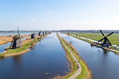Traditionele windmolens in Kinderdijk Nederland Royalty-vrije Stock Afbeelding