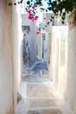Traditionele witte lege straat in kleine Emporio Royalty-vrije Stock Foto