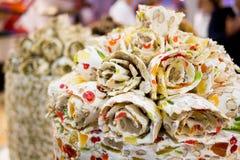 Traditionele woestijn van de snoepjes de Turkse verrukking royalty-vrije stock afbeeldingen