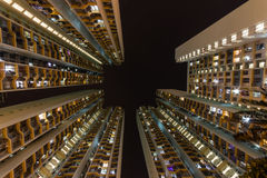 Traditionele woningbouw in nigh Hong Kong Stock Foto's