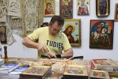 Traditionele workshop van Byzantijnse pictogrammen van Dimitri Zervopoulos i Royalty-vrije Stock Foto's