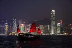 Traditionele zeilboot in Hong Kong royalty-vrije stock foto's
