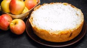 Traditionell äppelpaj med vaniljvaniljsås Polska Charlotte A royaltyfria bilder