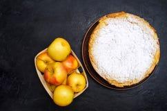 Traditionell äppelpaj med vaniljvaniljsås Polska Charlotte A royaltyfri fotografi