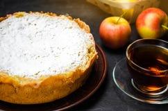 Traditionell äppelpaj med vaniljvaniljsås Polska Charlotte en favorit- brittisk efterrätt Hemlagade bakelser för te höstdesse arkivbilder