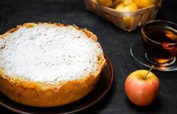 Traditionell äppelpaj med vaniljvaniljsås Polska Charlotte en favorit- brittisk efterrätt Hemlagade bakelser för te höstdesse royaltyfri bild