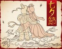Traditionell affisch för den Qixi festivalen, vektorillustration Arkivfoton