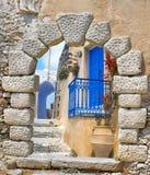Traditionell arkitektur av den Oia byn på den Santorini ön Arkivfoton