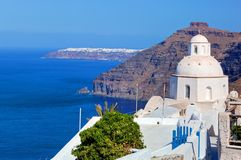 Traditionell arkitektur i Fira på den Santorini ön, Grekland Fotografering för Bildbyråer