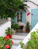 Traditionell arkitektur på Santorini Arkivfoto