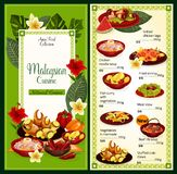 Traditionell asiatisk mat för malaysisk kokkonstmeny vektor illustrationer