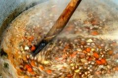 Traditionell bönasoup med grönsaker Royaltyfri Foto