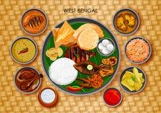 Traditionell Bengali kokkonst- och matmålthali av västra royaltyfri illustrationer