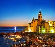 Traditionell berömfestival Stella Maris i Camogli Royaltyfria Foton