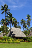 Traditionell bure med det halmtäckte taket, Vanua Levu ö, Fiji Royaltyfri Foto