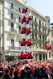 Traditionell Catalan show - Castell Royaltyfria Bilder