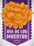 Traditionell Cempasuchil blomma över silkespapperpapper för & x22; Dia de Muertos & x22; , Vektorillustration Arkivfoto