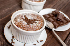 Traditionell chokladsouffle Arkivbilder