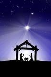 Traditionell Christian Christmas Nativity plats med de tre wina Arkivbild