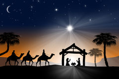 Traditionell Christian Christmas Nativity plats med de tre wina Arkivfoto