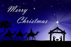 Traditionell Christian Christmas Nativity plats med de tre wina Royaltyfri Fotografi