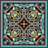 Traditionell dekorativ blom- paisley bandanna Arkivfoto