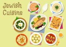 Traditionell disk för judisk kokkonst för matställesymbol royaltyfri illustrationer